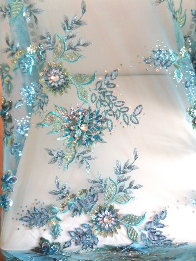 3D applique fabric material