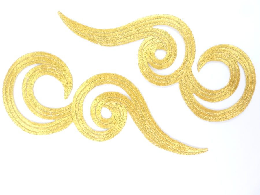 embroidered applique gold