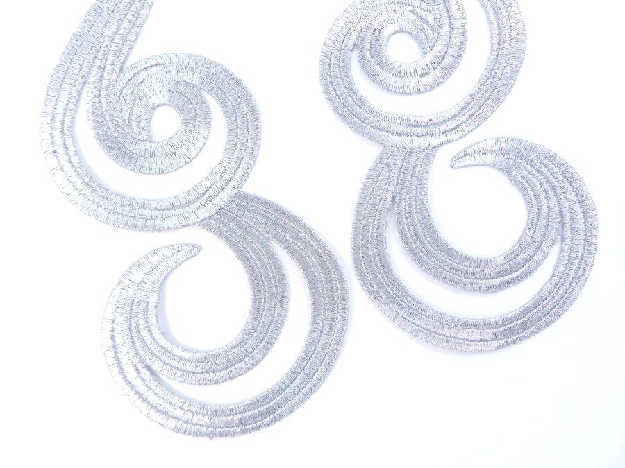 embroidered metallic applique Silver