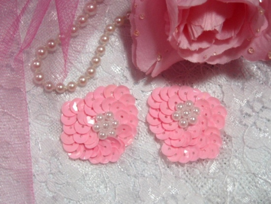 Pink Pearl Sequin Beaded Applique Pair 0006