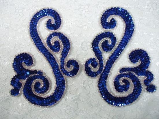 Blue Scroll Mirror Pair Sequin Beaded Appliques 0013