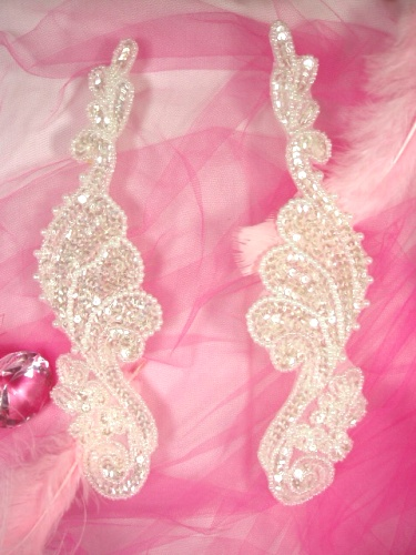 0016  Crystal Mirror Pair  Sequin Beaded Appliques 8\