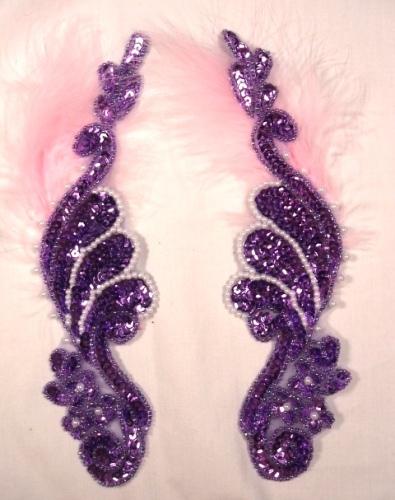 0016  Lavender Metallic Mirror Pair  Sequin Beaded Appliques 8