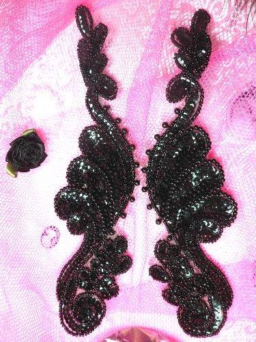 0016  Black Mirror Pair Beaded Sequin Appliques 8