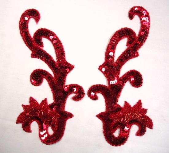 0020 Sequin Beaded Appliques Red Mirror Pair 8\