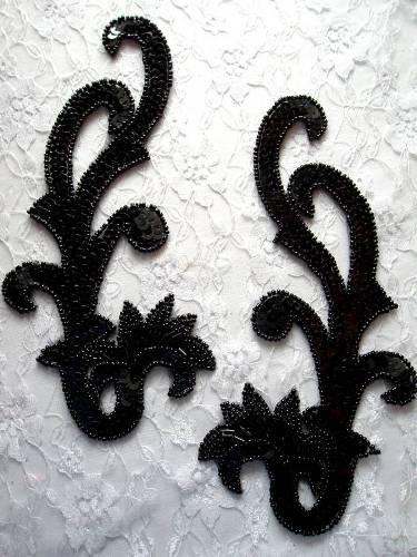 0020 Black Mirror Pair Sequin Beaded Appliques 8\