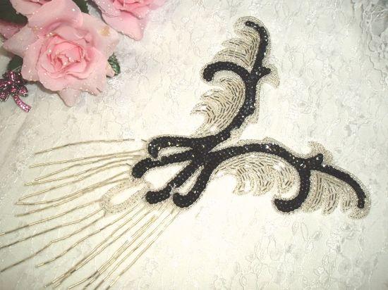 0021 Black Silver Yoke Sequin Beaded Applique 12