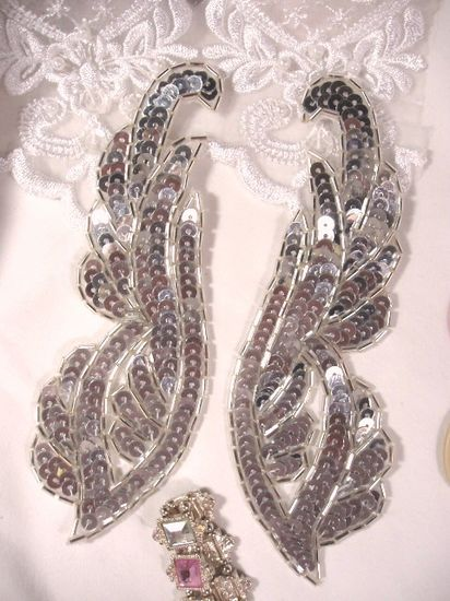 REDUCED Silver Mirror Pair Sequin Beaded Appliques 6.25 (RM0033)
