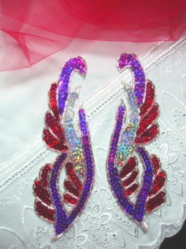 0033 Purple Red Mirror Pair Sequin Beaded Appliques 6.25\