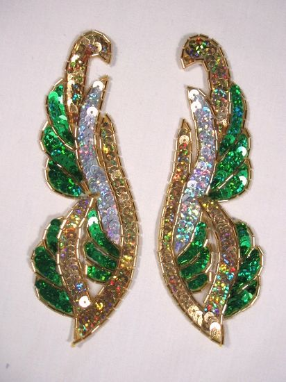 0033 Green Silver Gold Holographic Mirror Pair Sequin Beaded Appliques 6