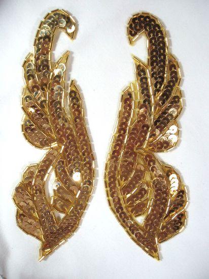 0033 Gold Mirror Pair Sequin Beaded Appliques 6.25