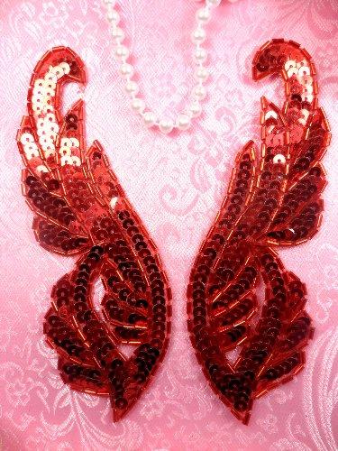 0033 Red Appliques Mirror Pair Sequin Beaded 6.25\