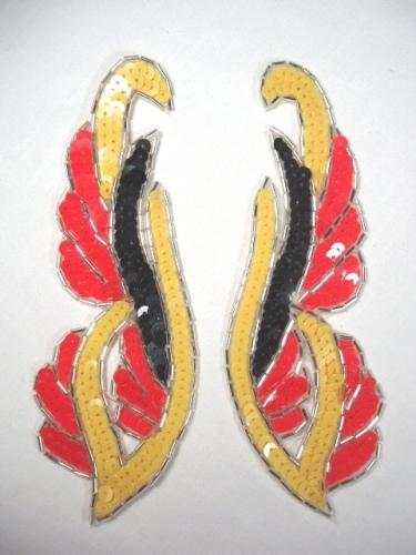 0033 Yellow Orange Mirror Appliques Pair Sequin Beaded