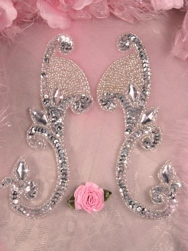 RIGHT SIDE ONLY OS0034 Silver Jeweled Mirror Pair Sequin Beaded Appliques 6