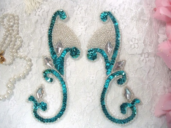 0034 Turquoise Jeweled Mirror Pair Sequin Beaded Appliques 6\