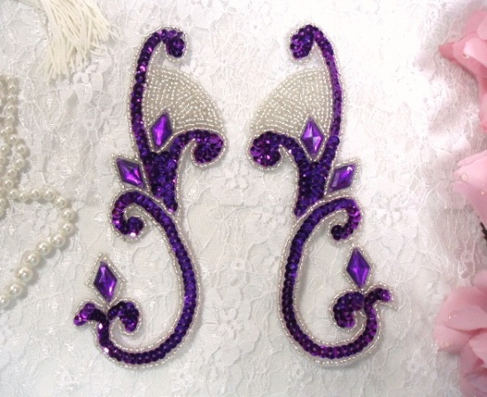 Purple Jeweled Mirror Pair  6\ Sequin Beaded Appliques  0034