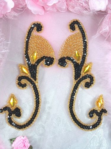 0034 Black & Gold Jeweled Mirror Pair Sequin Beaded Appliques 6