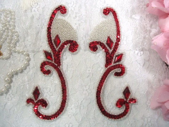 ONE SIDE Red Silver Jeweled Mirror Pair  6 Sequin Beaded Appliques  (OS0034)