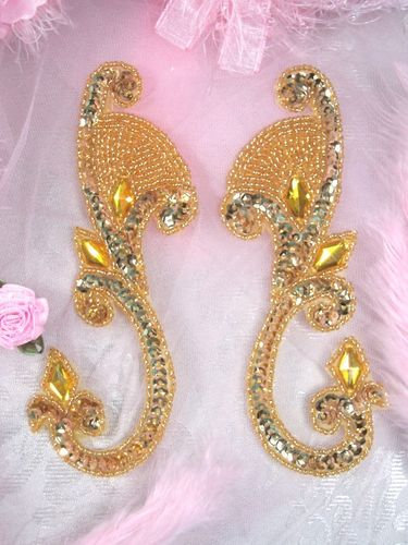 0034 Gold Jeweled Mirror Pair Sequin Beaded Appliques 6\