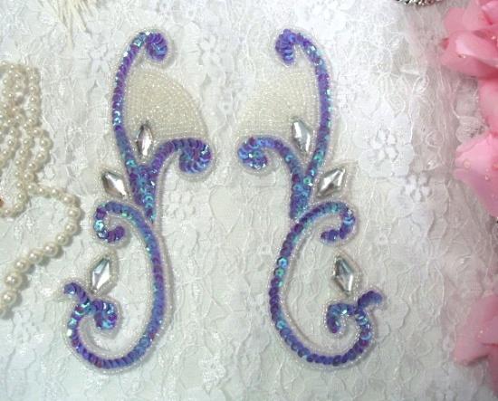 Lavender Iris Jeweled Mirror Pair  6\ Sequin Beaded Appliques  0034