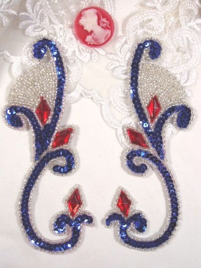 OS0034 (LEFT SIDE ONLY) Patriotic Jeweled Sequin Beaded Appliques 6\