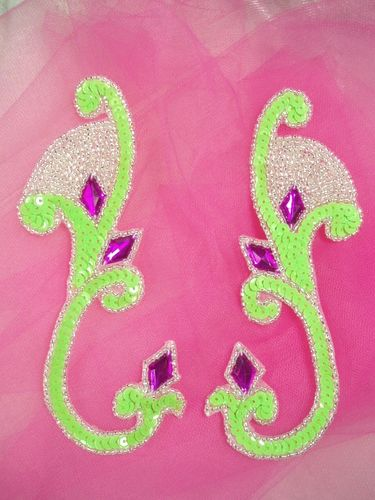 0034 Lime Green Jeweled Mirror Pair Sequin Beaded Appliques 6\