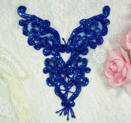 0035 Royal Blue Heart Bodice Yoke 8\ Sequin Beaded Applique