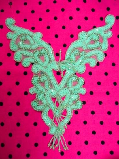0035 Mint Green Heart Bodice Yoke 8\ Sequin Beaded Applique