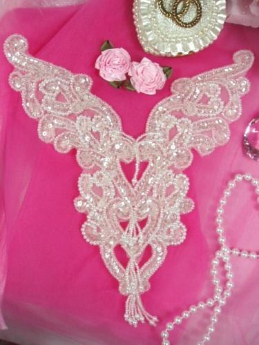 RM0035 REDUCED Crystal Heart Bodice Yoke Sequin Beaded Applique 8
