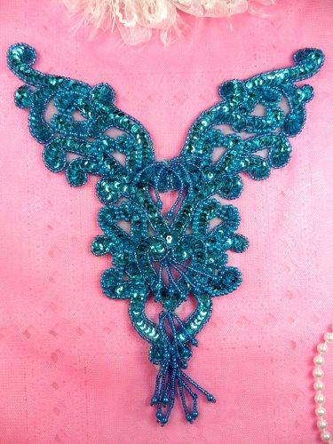 0035 Turquoise Heart Bodice Yoke 8\ Sequin Beaded Applique