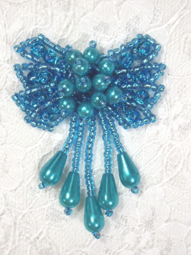 0036  Turquoise Bow Sequin Beaded Applique 2.5\