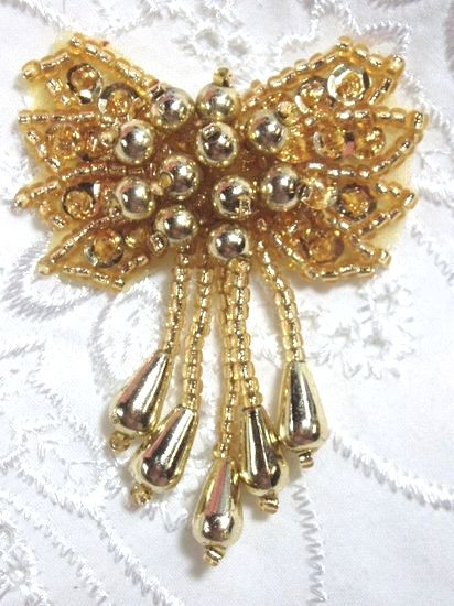 0036  Gold Bow Sequin Beaded Applique 2.5\
