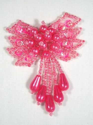 0036 Hot Neon Pink Bow Sequin Beaded Applique 2.5\