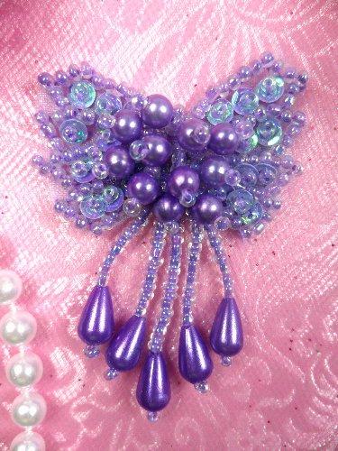 0036 Bow Lavender Sequin Beaded Applique 2.5\