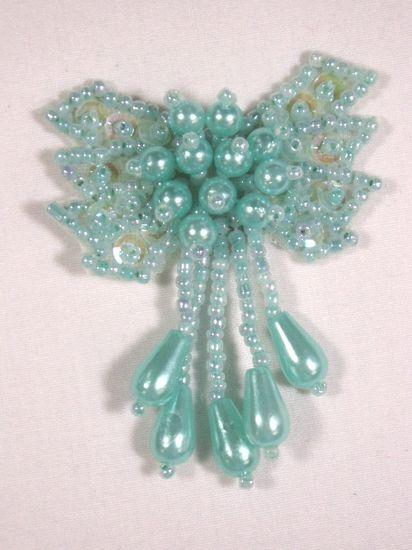 0036  Lt. Green Aqua Turquoise Bow Sequin Beaded Applique 2.5\