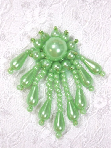 0043  Lime Green Dangle Beaded Applique 2