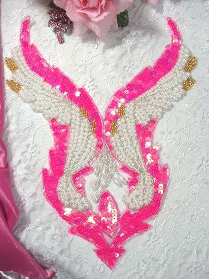 Bodice Beaded Sequin Applique Neon Pink W Pearls
