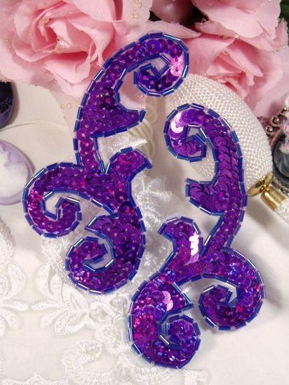 0050 Purple Mirror Pair Sequin Beaded Appliques 4