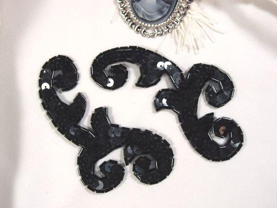 0050 Black Mirror Pair Sequin Beaded Appliques 4\