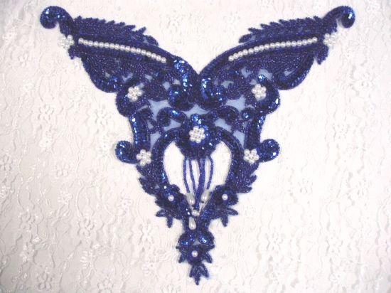 0055 Royal Blue Pearl Bodice Beaded Sequin Applique 11