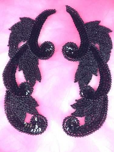0070 Black Mirror Pair Sequin Beaded Appliques 7\