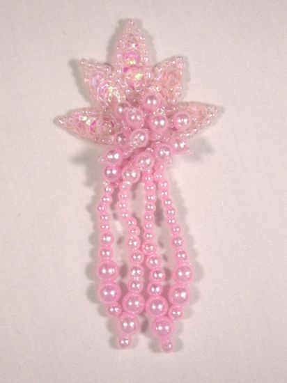 0073  Pink Leaf Dangle Sequin Beaded Applique 3\