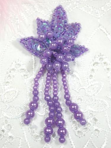 0073 Lavender Leaf Dangle 3\ Sequin Beaded Applique