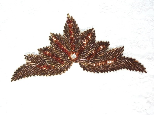 High Quality Sequin Bugle Beaded Applique Bronze Crystal Rhinestone Center Clothing Patch Motif 7 0084