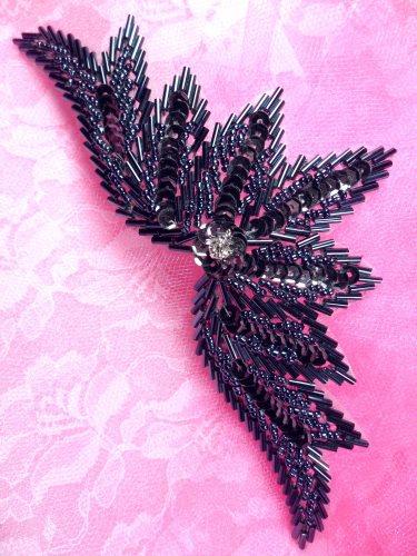 0084 Sequin Applique Gunmetal w/ Beads Sewing Patch Motif 7\