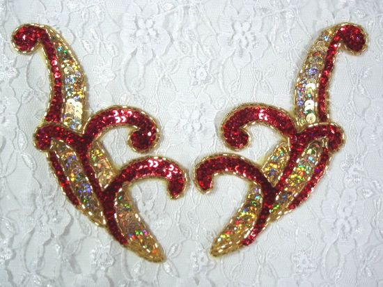 0097x  Red & Gold Holographic Appliques 5.5 Mirror Pair Sequin Beaded