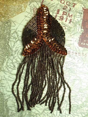 0099 Bronze Epaulet Beaded Sequin Applique 6\