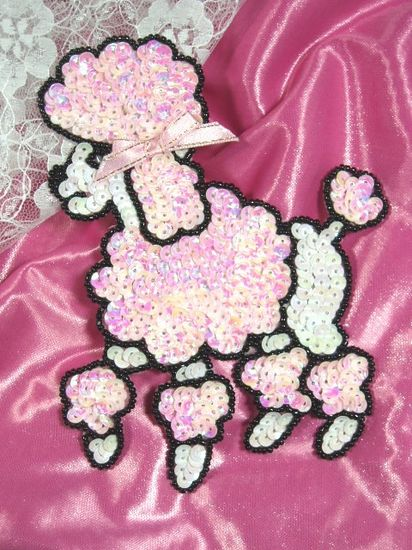 0105 White & Pink Poodle Beaded Sequin Applique 6\