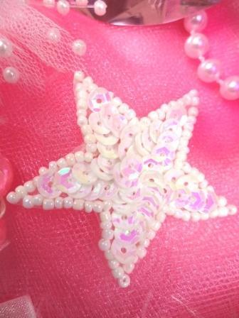 White AB Star Applique 1.5 Sequin Beaded JB71