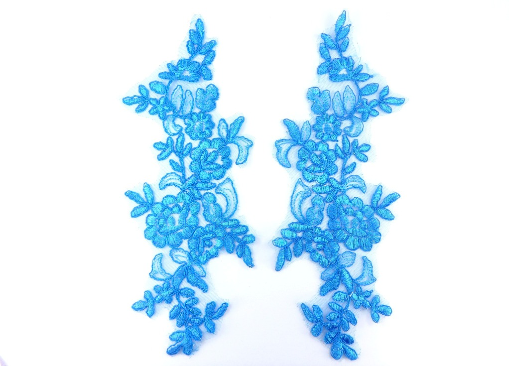 Mirror Pair Appliques Turqouise Floral Venise Lace  10.25 (GB457X-tr)
